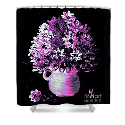 Hot Pink Flowers Shower Curtain