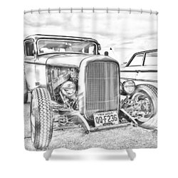Hot Rod Faux Sketch Shower Curtain