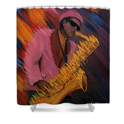 Hot Sax Shower Curtain by Jeff McJunkin