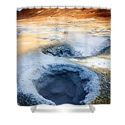 Shower Curtain featuring the photograph Hot Springs At Namaskard In Iceland by Peta Thames
