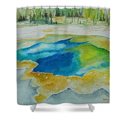 Hot Springs Yellowstone National Park Shower Curtain by Geeta Biswas