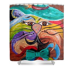Shower Curtain featuring the painting Hot Stuff - One Cool Cat   by Eloise Schneider