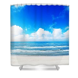 Hot Summer Beach Shower Curtain by Michal Bednarek