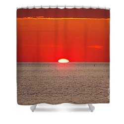 Hot Sun Seems To Melt Into The Sea Shower Curtain by Eunice Miller
