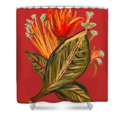 Shower Curtain featuring the digital art Hot Tulip R by Christine Fournier
