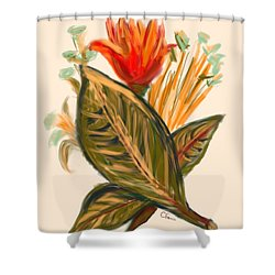 Shower Curtain featuring the digital art Hot Tulip Spring by Christine Fournier