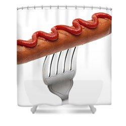 Hotdog Sausage On Fork Shower Curtain by Amanda Elwell