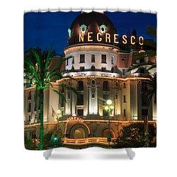 Hotel Negresco By Night Shower Curtain by Inge Johnsson