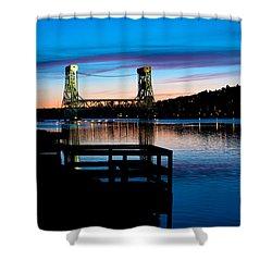 Houghton Bridge Sunset Shower Curtain