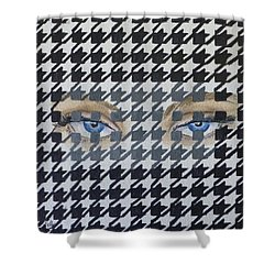 Shower Curtain featuring the mixed media Houndstooth Eyes by Kelly Mills