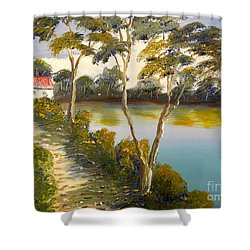 House By The Lake Shower Curtain