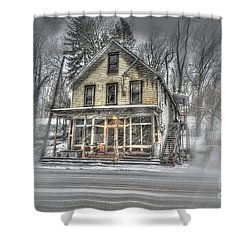 House In Snow Shower Curtain by Dan Friend
