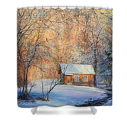 House In The Winter Forest  Shower Curtain