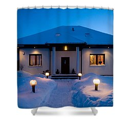 House In Winter Shower Curtain by Michal Bednarek