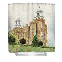 Shower Curtain featuring the painting House Of Defense by Greg Collins