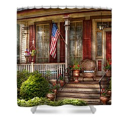 House - Porch - Belvidere Nj - A Classic American Home  Shower Curtain by Mike Savad