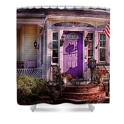 House - Porch - Cranford Nj - Lovely In Lavender  Shower Curtain by Mike Savad