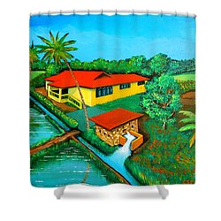 House With A Water Pump Shower Curtain