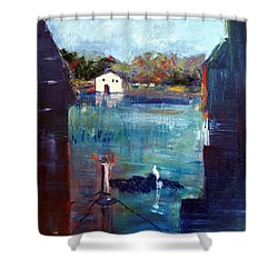 Houseboat Shadows Shower Curtain