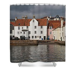 Houses At Pittenweem Harbor Shower Curtain
