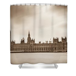 Houses Of Parliament And Elizabeth Tower In London Shower Curtain by Semmick Photo