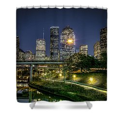 Houston On The Bayou Shower Curtain by David Morefield
