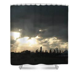 Houston Refinery At Dusk Shower Curtain by Connie Fox