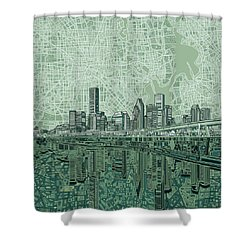 Houston Skyline Abstract 2 Shower Curtain by Bekim Art