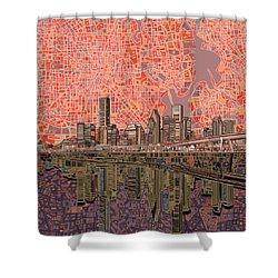 Houston Skyline Abstract 5 Shower Curtain
