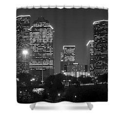 Houston Skyline At Night Black And White Bw Shower Curtain