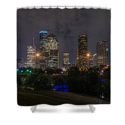 Houston Skyline At Night Shower Curtain