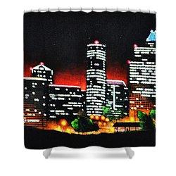 Houston Skyline Shower Curtain by Thomas Kolendra