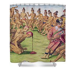 How A Sentry Was Treated For Negligence Shower Curtain by Jacques Le Moyne