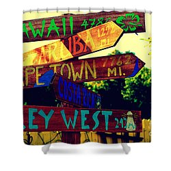 How Far Is It To Key West Shower Curtain by Susanne Van Hulst