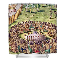 How The Chief Is Buried Shower Curtain by Jacques Le Moyne