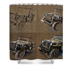 How To Draw A 1943 Willys Jeep Mb Car Shower Curtain by Daliana Pacuraru