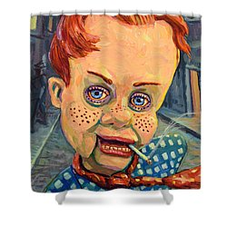 Howdy Von Doody Shower Curtain by James W Johnson