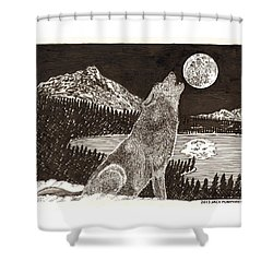Howling Coyote Full Moon Ho0wling Shower Curtain by Jack Pumphrey