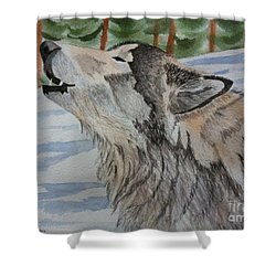 Howling Wolf In Winter Shower Curtain