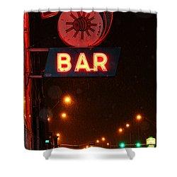 Hub Bar Snowy Night Shower Curtain