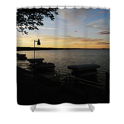 Hubbard Lake Sunset Shower Curtain