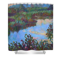 Huckleberry Line Trail Rain Pond Shower Curtain by Kendall Kessler