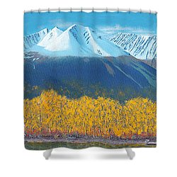 Shower Curtain featuring the painting Hudson Bay Mountain by Stanza Widen