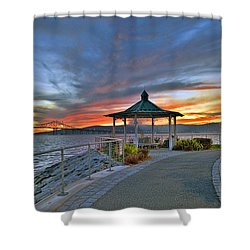 Hudson River Fiery Sky Shower Curtain
