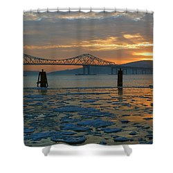 Hudson River Icey Sunset Shower Curtain by Jeffrey Friedkin