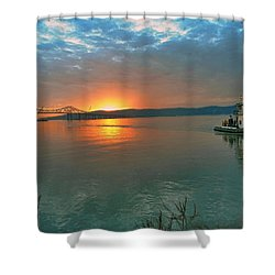 Hudson River Sunset Shower Curtain by Jeffrey Friedkin