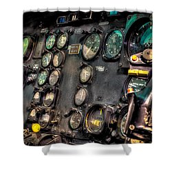 Huey Instrument Panel Shower Curtain by David Morefield
