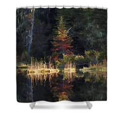 Huff Lake Reflection Shower Curtain