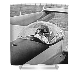 Hughes New Fx-11 Plane Shower Curtain by Underwood Archives