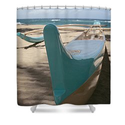 hui o waa Kuau Outrigger Canoe Paia Shower Curtain by Sharon Mau